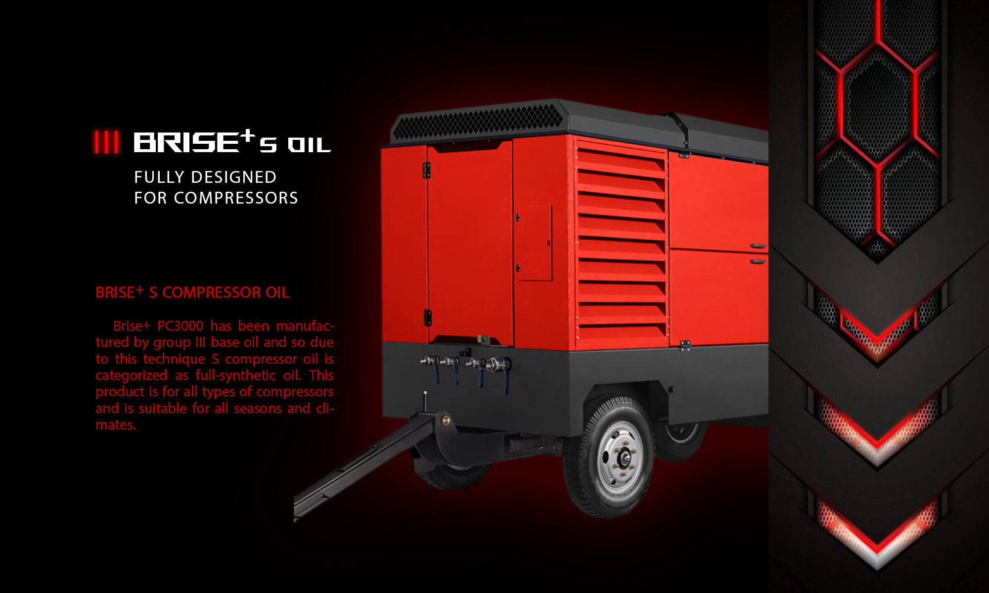 RED AIR COMPRESSOR WHICH USE BRISE PLUS ENGINE OIL