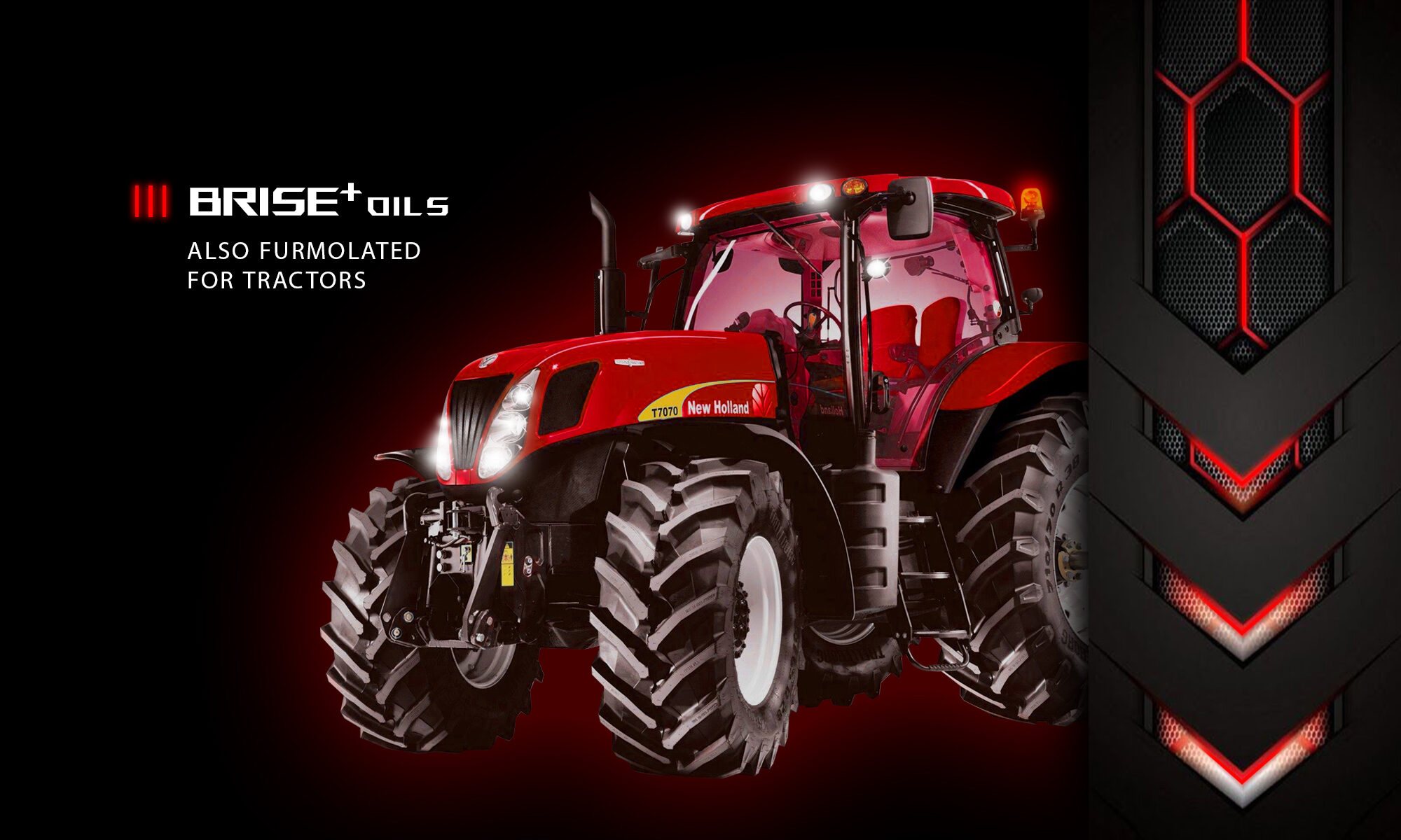 RED HOLLAND TRACTOR POWERED BY BRISE PLUS ENGINE OIL