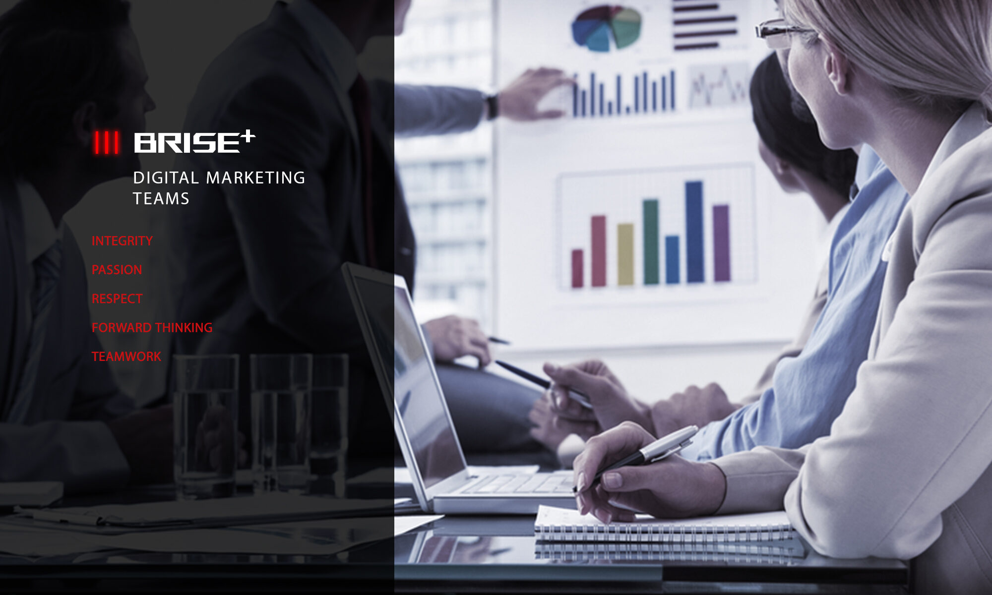 BRISE PLUS DIGITAL MARKET TEAM ON DESK AND A MAN STAND NEAR WITH BOARD