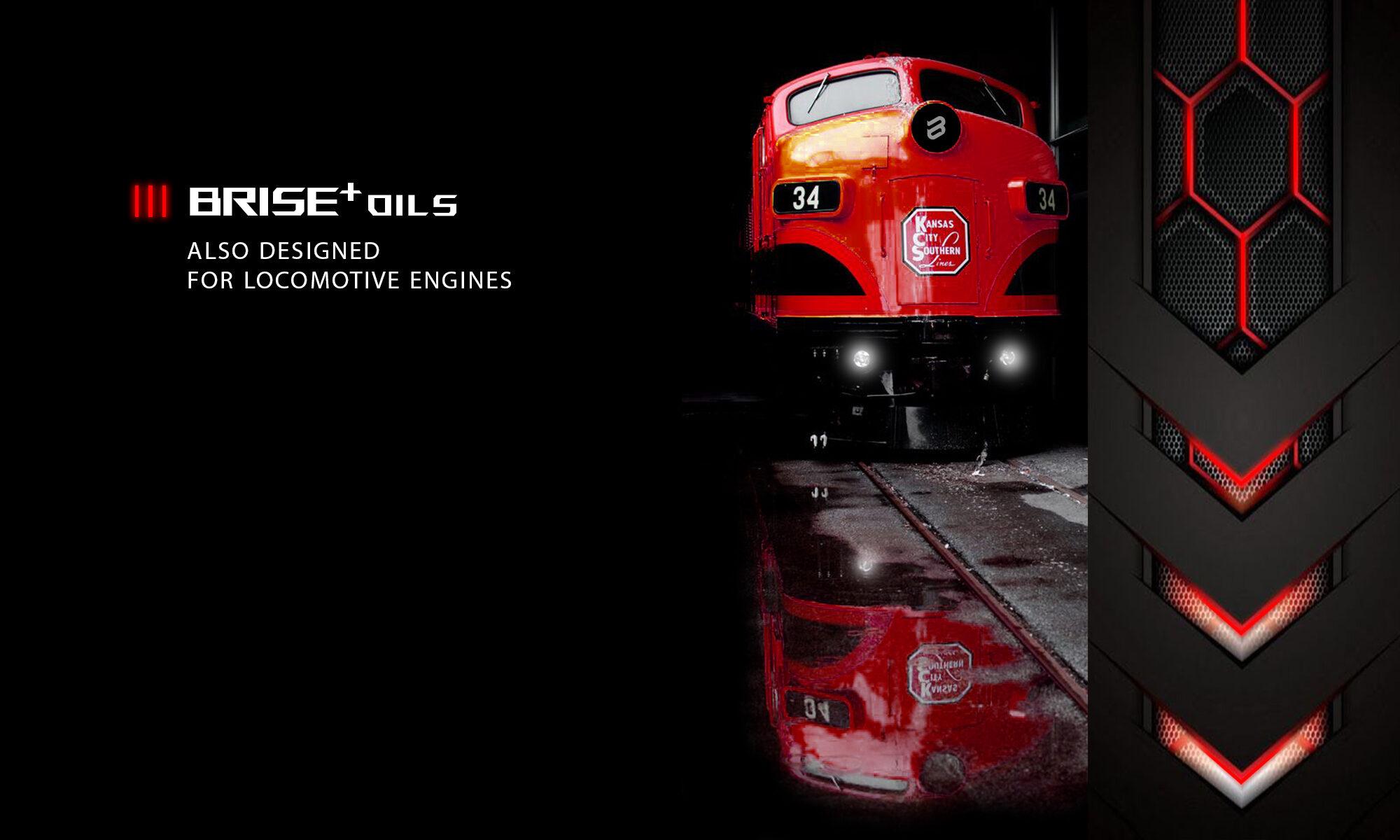 RED LOCOMOTIVE ON BLACK RAIL WHICH USE BRISE PLUS ENGINE OIL